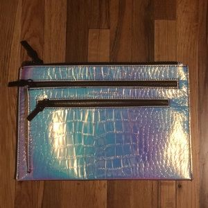 French Connection iridescent clutch zipper pouch
